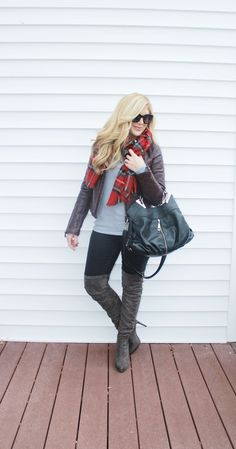 Outfitted411: Layered...faux leather jacket, OTK boots, blanket scarf, tartan
