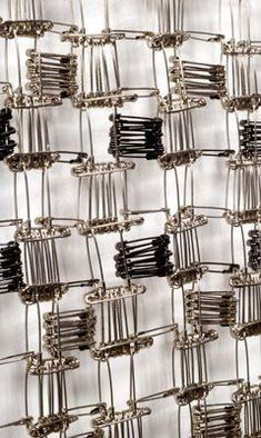 "WINDOWS, japanese safety pins, 32.5"" x 31.5"" x 1"", 2010"