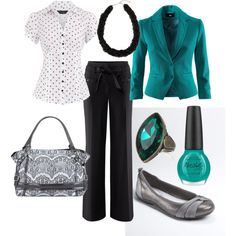 """""""Teal wear-to-work"""" by linzrebecca on Polyvore"""