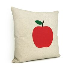 (easy to re-create) Red apple pillow case  Felt apple applique on by ClassicByNature, $36.00