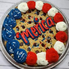 Cookie Cake Decorations, Cookie Cake Designs, Cookie Cakes, Cookie Decorating, Cupcake Cakes, Decorating Ideas, Decor Ideas, 4th Of July Cake, 4th Of July Desserts
