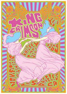 King Crimson Vintage, retro, hippie, classic rock concert poster.