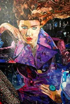 Fashion image Recycled Magazine Collage Art.  54x38 inches
