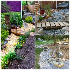 LOVE the idea of a dry water feature(complete with bridge) that the children can pump rainwater into from a nearby rain barrel.