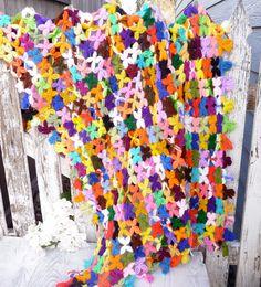 Vintage Rainbow Star Knit Baby Blanket Throw by HuckleberryVntg, $20.00