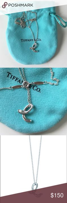 """Tiffany & Co. Initial pendant Elsa Peretti letter """"e"""" pendant necklace. Sterling silver, 16"""" chain. Worn only a handful of times and still in great condition. Comes with Tiffany bag! Tiffany & Co. Jewelry Necklaces"""