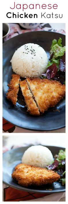 Japanese Chicken Katsu - breaded chicken coated with thick bread crumbs and deep-fried to crispy perfection!! | rasamalaysia.com .