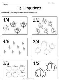 FREE - Fall Fractions Worksheet - Enjoy this and other free educational resources at my Teachers Pay Teachers store!! #free  #fall  #math