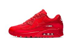 Nike Air Max 90 All-Red Release white bold vibrant supreme monotoned Nike Shoes Size Chart, Nike Shoe Size, Red Sneakers, Sneakers Fashion, Sneakers Nike, Sneakers Style, Air Max 90 Noir, Zapatillas Nike Roshe, Hypebeast