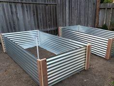 Metal Raised Garden Beds, Building A Raised Garden, Raised Beds, Metal Beds, Raised Garden Planters, Rocks Garden, Raised Vegetable Gardens, Vegetable Gardening, Corrugated Metal