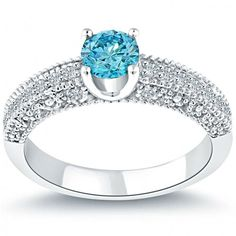0.96 Carat Certified Fancy Blue Round Diamond Engagement Ring 14k White Gold - Thumbnail 1