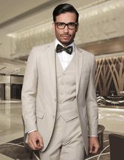 Statement Mens Slim Fit Suits 3 Piece Tan  Wool Lorenzo Suit - click to enlarge