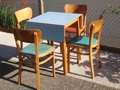 Retro Vintage Formica Folding Kitchen Table & Chairs 50s 60s