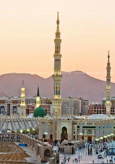 The Prophet's Mosque (Masjid-e-Nabawi), Medina, Saudi Arabia. It is the second holiest site in Islam (the first being the Masjid al-Haram in Mecca). Masjid Al Nabawi, Masjid Haram, Beautiful Mosques, Most Beautiful Cities, Islamic Images, Islamic Pictures, Islamic Quotes, Medina Mosque, Green Dome