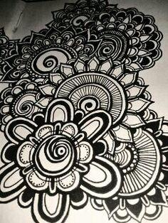 Art journal. Flowers zentangles. Pagina Facebook: DOV'È ANDATO IL BIANCONIGLIO?