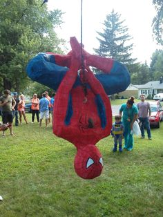Spiderman pinata I made for our nephews birthday.