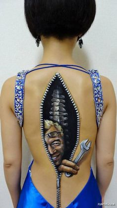Body Art Illusion - this is an illusion of a zipper in a girls back with a guy holding a wrench coming out - yep, a little scary for sure. Description from pinterest.com. I searched for this on bing.com/images