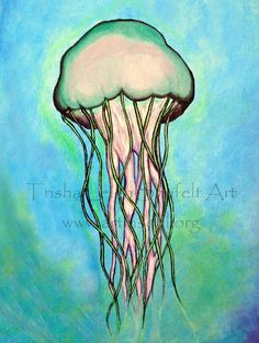 Art Print Open Edition Jelly Fish Pink and green by ArtInSoulorg