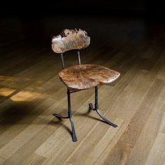 The Sandhill Chair in burl bigleaf maple.