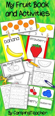 My Fruit Book and Activities - book, posters, matching cards, math worksheets, and pattern clip cards.