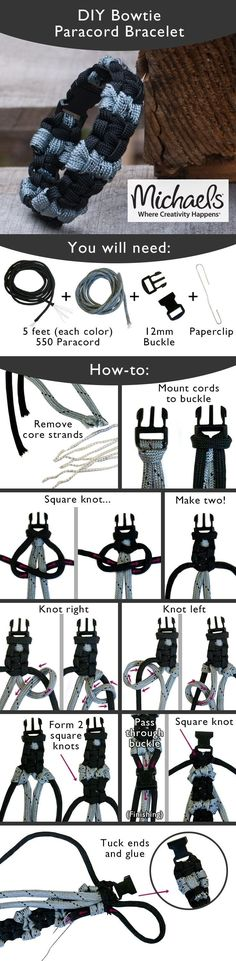 Tie a few knots to create this trendy DIY Paracord Bracelet Más Paracord Projects, Paracord Ideas, Paracord Tutorial, Parachute Cord, Paracord Bracelets, Jewelry Crafts, Diy And Crafts, Jewelry Making, How To Make