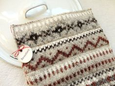 Wool Pot Holders Hot Pads OATMEAL & RUST Fair Isle by WormeWoole, $20.00