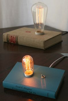 Hardback book lamps by Philip Hansen.