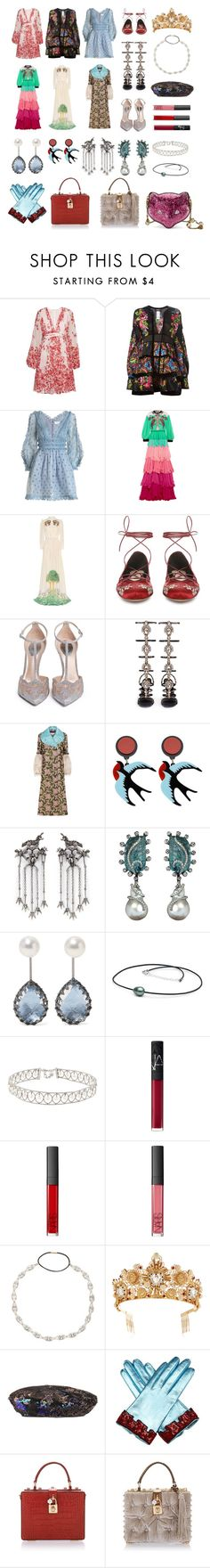 """Untitled #2396"" by claireyim ❤ liked on Polyvore featuring Giambattista Valli, Dsquared2, Zimmermann, Gucci, Etro, Rene, René Caovilla, Valentino, Annoushka and Larkspur & Hawk"