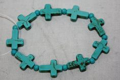 RESTOCK Turquoise Cross Stretch Bracelet