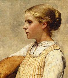 """Albert Anker (1837-1910), """"Mädchen mit Brot"""", 1887 (detail)"""