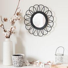 Round Rattan Mirror in Black D 35 | Maisons du Monde