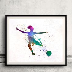 Woman soccer player 03 - Fine Art Print Glicee Poster Home Watercolor sports…