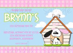 Puppy Pink Birthday Invitation by LoveLifeInvites on Etsy https://www.etsy.com/listing/109632843/puppy-pink-birthday-invitation