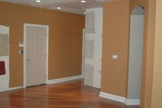 new paint color for the kitchen? Dining Room Colors, Kitchen Colors, New Paint Colors, Kitchen Paint, White Trim, Wine Country, Tall Cabinet Storage, Sweet Home, Painted Walls