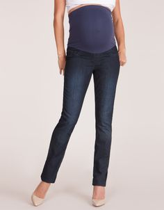 $69 Soft stretch denim  Seamless over bump fit Slim leg cut