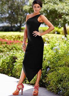 One shoulder slit dress, in red or black. Venus.com
