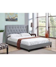 Abbyson Living Tufted Gray Linen Nailhead Trim Wingback Bed   King