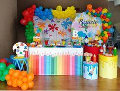 Birthday Painting, Art Birthday, 1st Boy Birthday, 1st Birthday Party Supplies, Sleepover Birthday Parties, Kids Art Party, Balloon Decorations Party, Paint Party, Diy