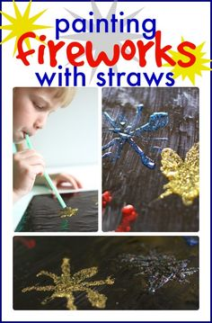Such a fun art project for the 4th of July!  Painting fireworks with straws!