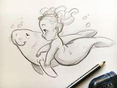 s book illustration, ocean drawing, bab Mermaid Drawings, Mermaid Art, Baby Mermaid Tattoo, Mermaid Paintings, Vintage Mermaid, Mermaid Tails, Mermaid Illustration, Children's Book Illustration, Illustration Children
