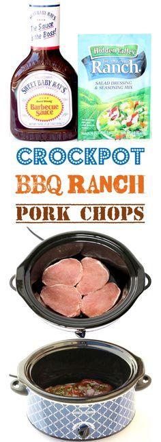 BBQ Ranch Pork Chops Crock Pot Recipe 4 Ingredients - The Frugal Girls - Crockpot Pork Chops Easy BBQ Recipe! Just 4 Ingredients The perfect dinner for your busy weeknights - Crockpot Dishes, Crock Pot Cooking, Easy Crockpot Pork Chops, Porkchop Recipes Crockpot, Crockpot Pork Chop Recipes, Dinner Crockpot, Easy Crockpot Recipes, Recipes For Pork Chops, Instapot Pork Chops