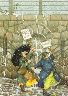 Comics - inge look, protest the rain inge löök illustration Old Lady Humor, Growing Old Together, Singing In The Rain, Norman Rockwell, Pics Art, Whimsical Art, Old Women, Old Ladies, Illustrators