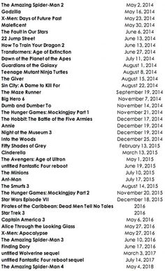 Upcoming movie release dates.