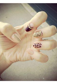 : studded, spike and animal print nail art