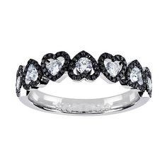 "Who doesn't love Hearts n' Diamonds?!    ""Classica Collection"" by Roberto Coin, Black & White Diamond Heart Ring in 18kt White Gold  $2,550 CAD"