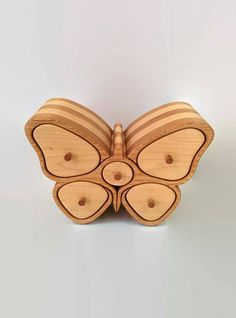 BUTTERFLY BOX with a hidden drawer - bandsaw box - jewelry box - wood sculpture - wooden box - desk organizer - gift for her - wood art