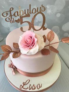 elegant birthday cake with hand made rose 50th Birthday Quotes Woman, 50th Birthday Cake For Women, 50th Birthday Cake Toppers, 50th Birthday Decorations, Moms 50th Birthday, 50th Cake, Birthday Ideas, Elegant Birthday Cakes, Birthday Cake For Women Elegant