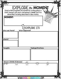 How I Teach Explode the Moment Writing - Raise the Bar Reading grade, writing, expanding sentences Writing Strategies, Writing Lessons, Kids Writing, Teaching Writing, Writing Skills, Descriptive Writing Activities, Writing Rubrics, Writing Process, Writing Ideas