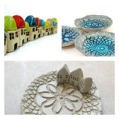 work in progress by Orly Pittel, ceramic houses, lace bowl, miniature houses, colorful design, CeramicsByOrly
