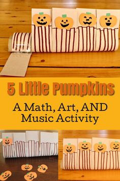 This is such a cute fall activity for preschoolers and toddlers. Make a 5 little pumpkins craft! This is the perfect craft to go along with the song shared in this post. So much fun for Halloween! Educational Activities For Preschoolers, Creative Activities For Kids, Autumn Activities For Kids, Fall Preschool, Music Activities, Halloween Activities, Infant Activities, Number Activities, Preschool Learning